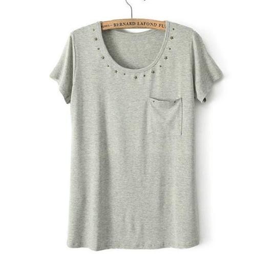 YJY莫代爾棉鉚釘造型彈力T恤[K10120]-3色