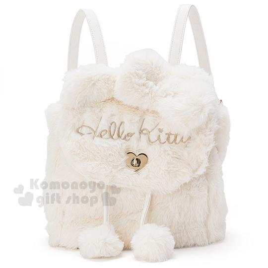 〔小禮堂〕Hello Kitty 造型絨毛掀蓋後背包《小.白.立體耳朵.LOGO》時尚秋冬包款系列