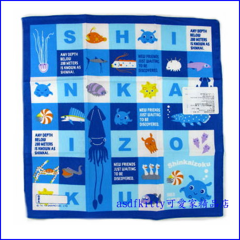 asdfkitty可愛家☆SANRIO三麗鷗 深海族章魚藍色棉質手帕-100%棉-日本製