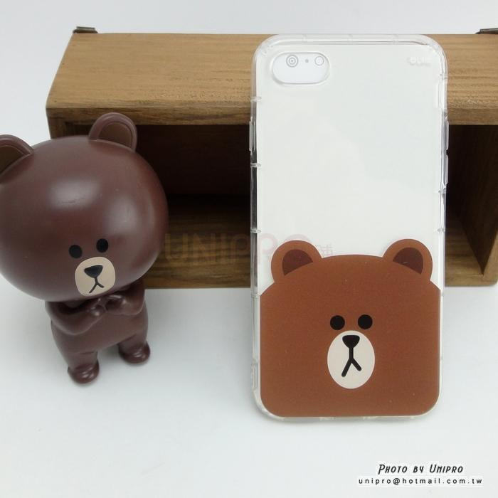 【UNIPRO】iPhone 5 5S SE LINE FRIENDS 麻吉樂園 熊大 空壓氣墊手機殼 i5 正版授權