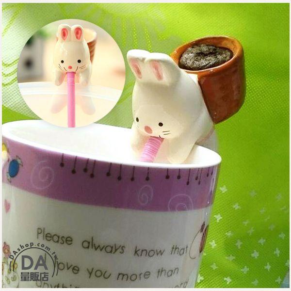 《DA量販店》迷你 盆栽 動物 嘴巴 吸水 喝水 療愈 植物 兔子(V50-1281)