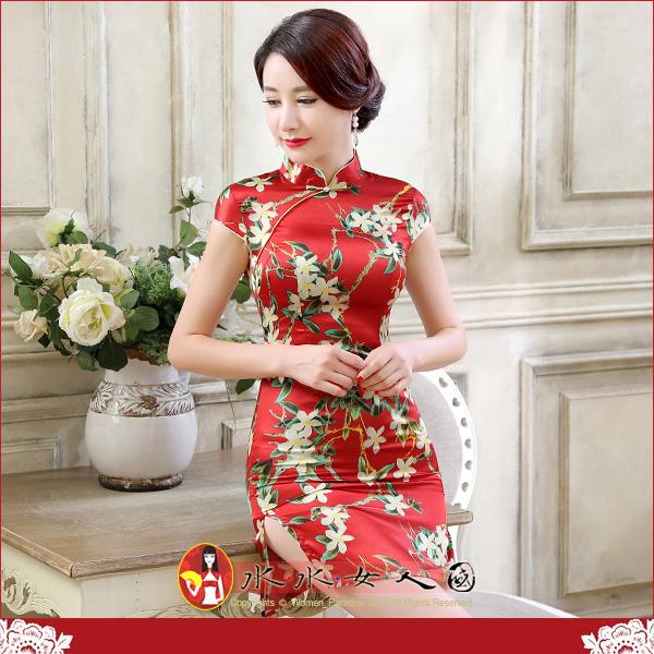【水水女人國】~特價499元~平價旗袍風~花紅。復古仿絲印花包袖改良式時尚短旗袍