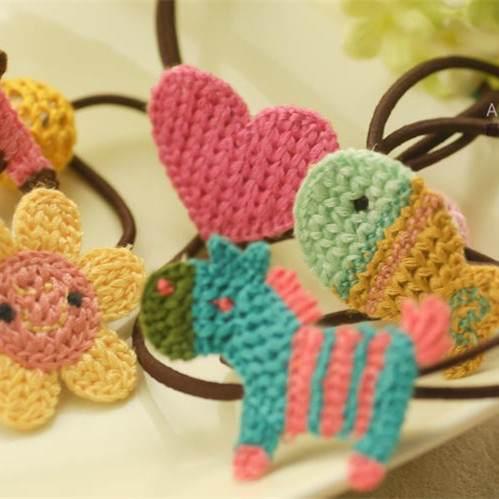=優生活=韓國純手工正品頭花髮飾編織小木馬 小花 太陽各式可愛髮束 兒童髮束