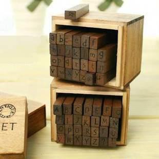 =優生活=韓國文具 復古木盒英文字母印章 28個小印章