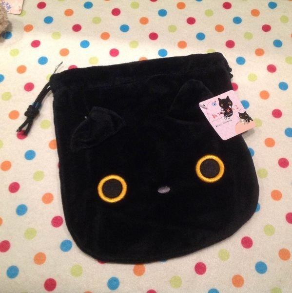 =優生活=SAN-X Rilakkuma 靴下貓 小襪貓 襪子貓 臉型 絨毛 束口袋 收納袋 零錢包