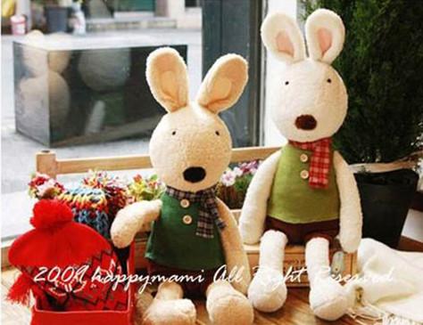 =優生活=日本正品 le sucre 砂糖兔 法國兔娃娃 滿月禮物 結婚禮物 情人節禮物 格紋巾款 30公分
