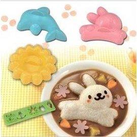 =優生活=日本料理 兔子/海豚/花朵造型咖哩蓋飯燴飯模具組4入/咖哩飯/燴飯