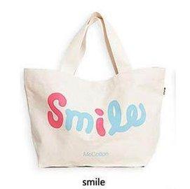 =優生活=韓版smile帆布單肩包 手提袋 帆布包包 購物袋 補習袋