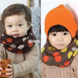 =優生活=韓國秋冬流行 點點 波點兒童圍巾 圍脖 保暖脖圍