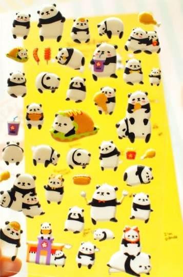 =優生活=韓國直送SONIA 立體海綿泡泡手機貼紙 貪吃熊貓 panda