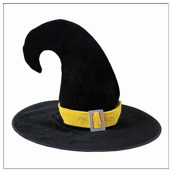 =優生活=萬聖節舞會 派對裝飾帽子 巫婆帽子 彎角帶扣黑帽子 魔術師帽