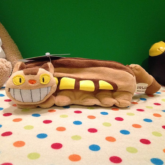 =優生活=宮崎駿龍貓 TOTORO 貓咪公車 龍貓公車毛絨筆袋 收納袋 筆盒 娃娃 化妝包