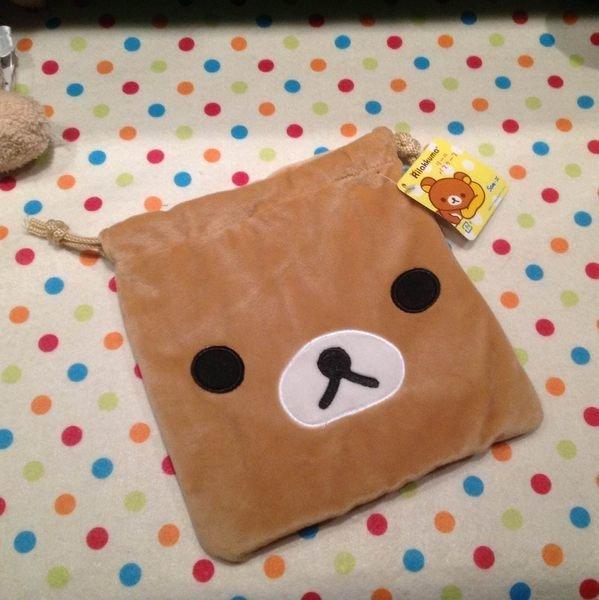 =優生活=懶懶熊 拉拉熊造型好用 毛茸茸萬用縮口袋 束口袋 拍得立相機袋 收納袋 化妝包