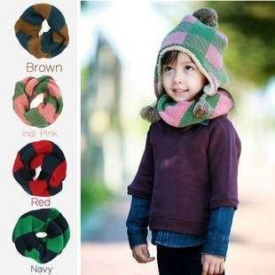 =優生活=韓國 winghouse 條紋針織 氣質 條紋 兒童 拼色脖圍 圍巾 加厚版