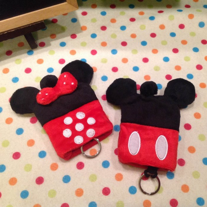=優生活=迪士尼 米奇 米妮毛絨鑰匙包 零錢包 二合一多功能 收納包 鑰匙扣 生日禮物 交換禮物