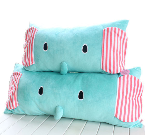 =優生活=正品毛絨小象單人枕雙人枕 馬戲團薄荷象可拆洗單雙人枕頭 抱枕 (單人)
