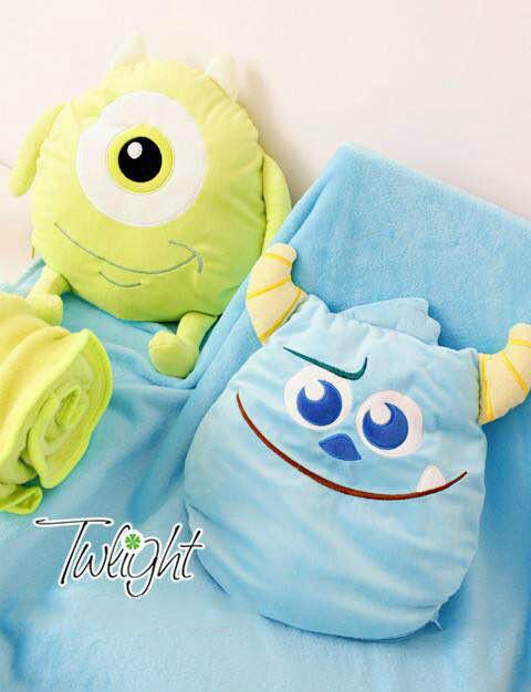 =優生活=怪獸大學 怪獸電力公司 大眼仔 毛怪 靠墊 抱枕 涼被 空調毯 兩用被