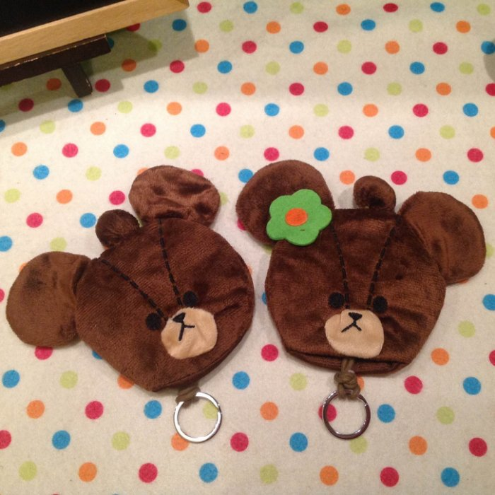 =優生活=日本 小熊學校 line熊 咖啡熊 可愛熊毛絨鑰匙包 鑰匙扣 零錢包 鑰匙收納包
