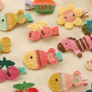 =優生活=韓國正品純手工編織小馬髮夾飾品 兒童頭飾 蛋糕 太陽 花兒 小魚髮飾