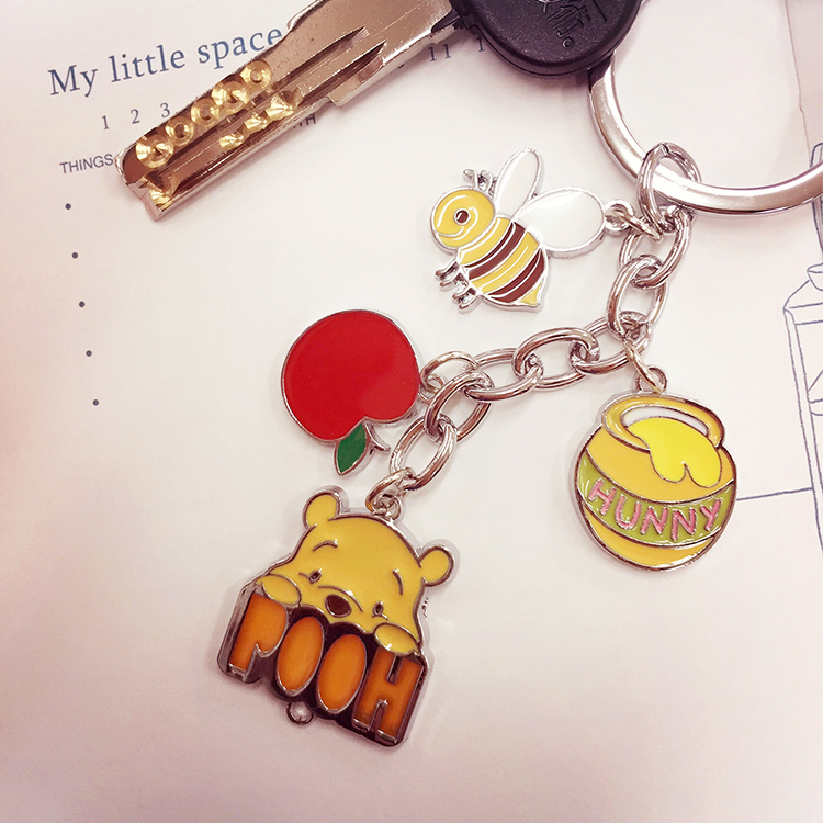 PGS7 日本迪士尼系列商品 - 小熊維尼 蜂蜜罐 鑰匙圈 吊飾 Disney 蜜蜂