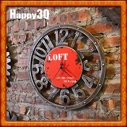 歐美LOFT個性創意復古藝術客廳餐廳臥室咖啡廳牆面裝飾時鐘-紅/黃/灰【AAA0742】