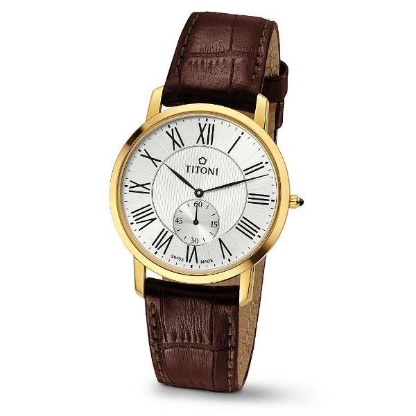 TITONI瑞士梅花錶TQ52917G-ST-375 Slenderline系列羅馬紳士纖薄時尚腕錶/白面38mm