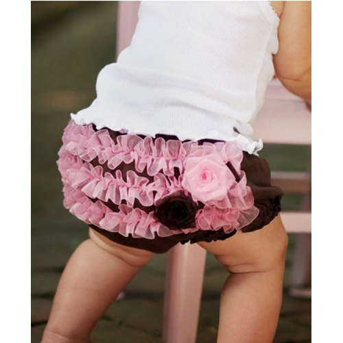 【HELLA 媽咪寶貝】美國 RuffleButts 小女童荷葉屁屁褲/包屁褲_巧克力縐紗 Knit   (RBRBK09)