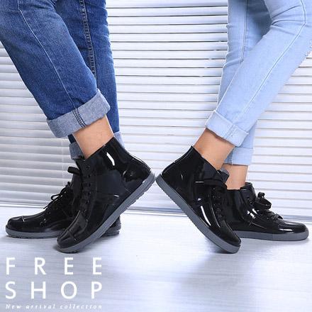 雨鞋 Free Shop【QFSGU9007】情侶款 韓國男女雨鞋中性防水防滑套鞋水靴高筒馬丁靴軍靴雨靴雨鞋 黑色