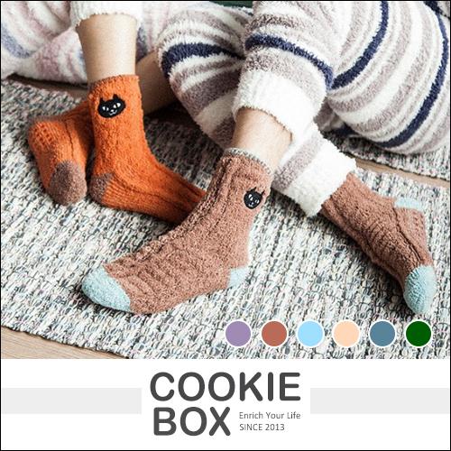 超厚 刺繡 貓狗頭 珊瑚絨 居家襪 長襪 襪子 黑貓 鬥牛犬 波士頓梗 文青 多色 聖誕 交換禮物 *餅乾盒子*
