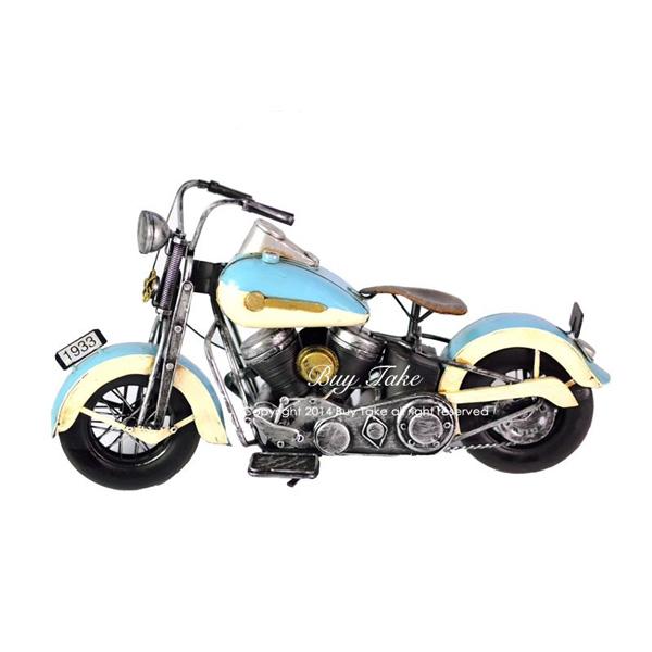 手工藍色打檔摩托車 老仿古中型復古鐵製懷舊哈雷嬉皮童玩重機擺飾模型店面裝飾禮品