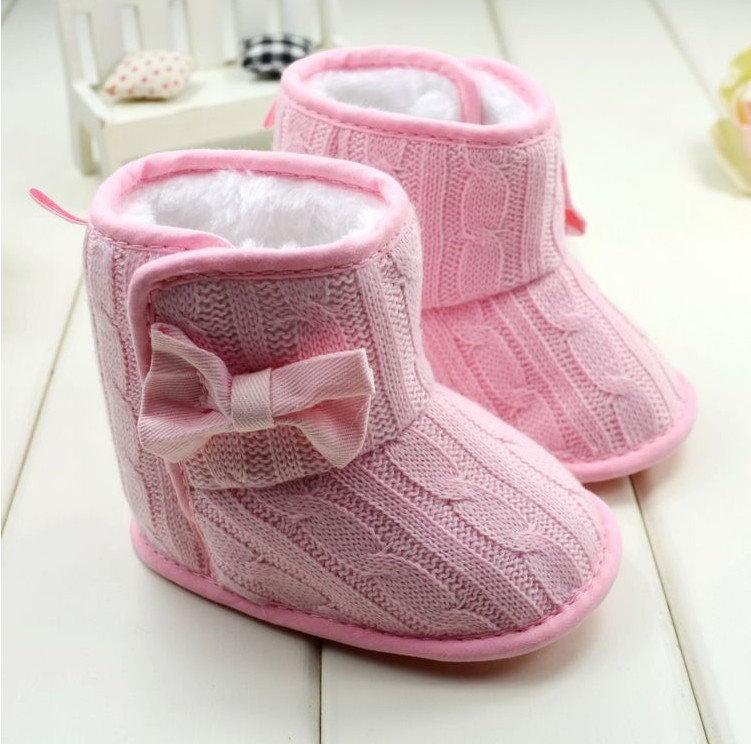 冬季女寶寶雪靴保暖靴子軟底防滑蝴蝶結針織靴/粉色