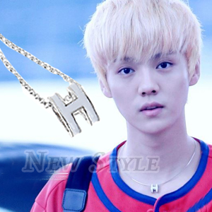 ☆ New Style ☆ EXO 鹿唅 Luhan H立體字母橢圓項鏈 韓國進口 ASMAMA官方正品