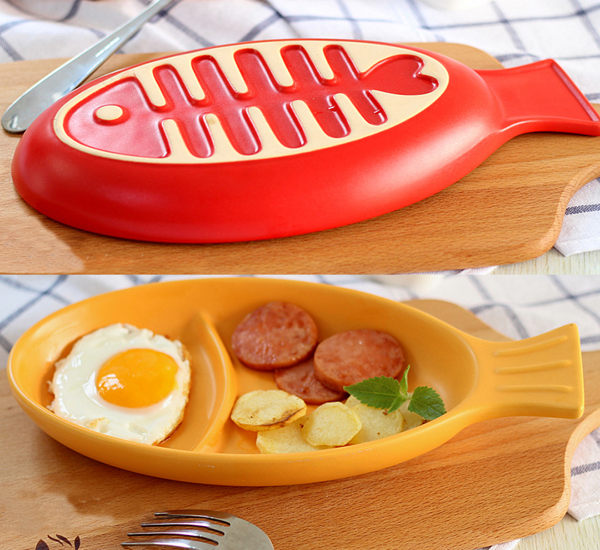 陶瓷烤盤焗烤盤小魚型瓷盤盤子033070海渡