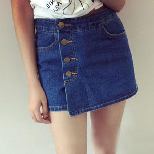 YJY百搭單排釦牛仔褲裙[KKQ30]-2色全尺碼