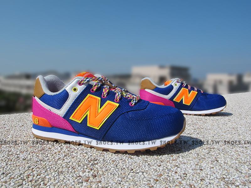 Shoestw【KL574T5G】NEW BALANCE 復古慢跑鞋 寶藍 民族圖騰 大童鞋 NB574 女生可穿