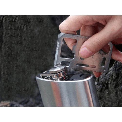 【F13070202】不銹鋼 多功能瑞士軍刀卡 野營救生卡 精美皮套工具卡