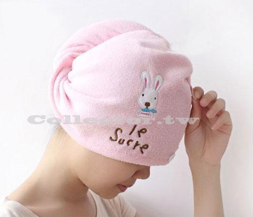 【J14062401】神奇粉紅兔乾髮帽 浴帽 超強吸水 超細纖維乾髮毛巾