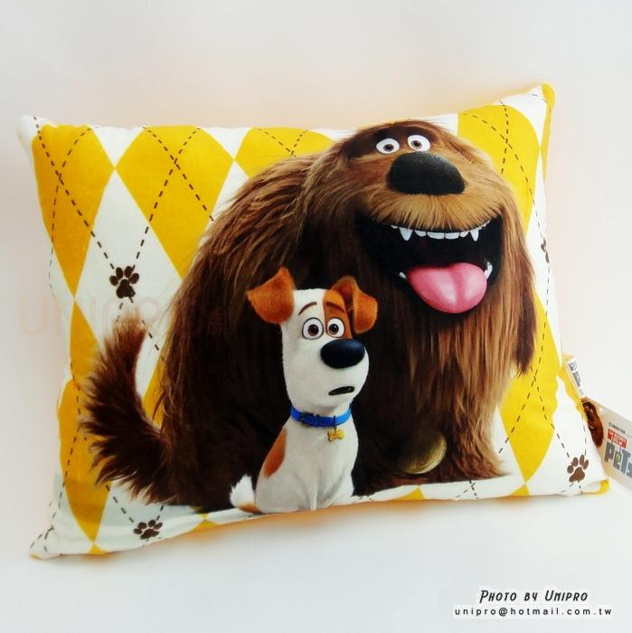 【UNIPRO】寵物當家 麥斯與公爵 方枕 午安枕 靠枕 梗犬 米克斯 正版授權