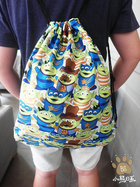 小熊日系*滿版三眼怪後背包束口袋 玩具總動員收納包收納袋外出袋旅行袋 Toy story