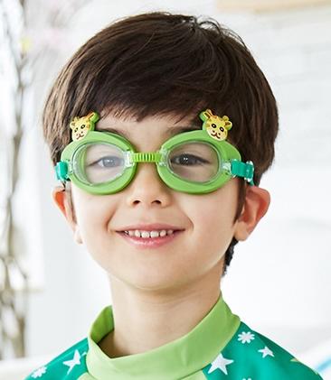 Kocotree◆可愛動物小鹿長頸鹿卡通造型兒童泳鏡防水護目鏡-綠色