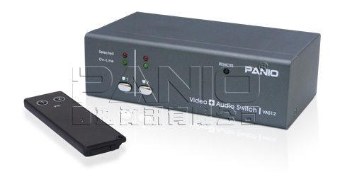 *╯新風尚潮流╭*PANIO 2主機1VGA螢幕顯示端 視訊+聲音電子切換器-附搖控器 VAS12