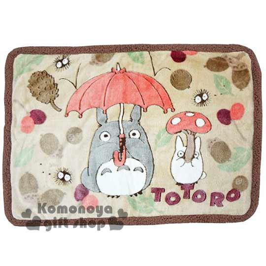 〔小禮堂〕宮崎駿 Totoro龍貓 滾邊毛毯《淺咖.朋友.樹果》70x100cm