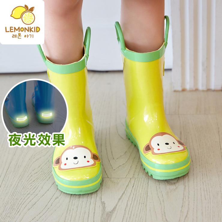Lemonkid◆活力小花猴安全夜光設計手提式提環橡膠兒童雨鞋-黃色