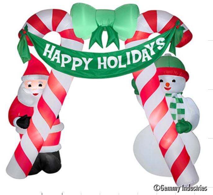 X射線【X027898】305cm充氣老公公雪人拐杖糖拱門,聖誕佈置/充氣擺飾好收納/聖誕充氣/佈置/開幕/會場佈置/打卡