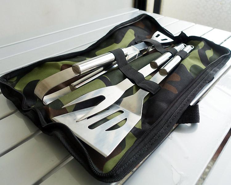 【樂遊遊】不鏽鋼燒烤工具3件組(贈收納提袋) 料理工具 烤肉工具 烤肉用品 中秋烤肉 野炊 露營