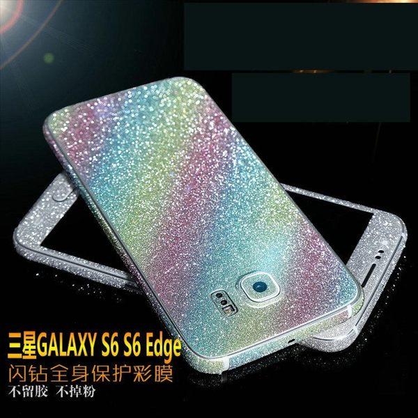 三星Galaxy S6 Edge 手機貼膜 全身邊框前後蓋彩膜貼紙 Samsung G9250 磨砂閃鑽全身保護貼膜【預購】