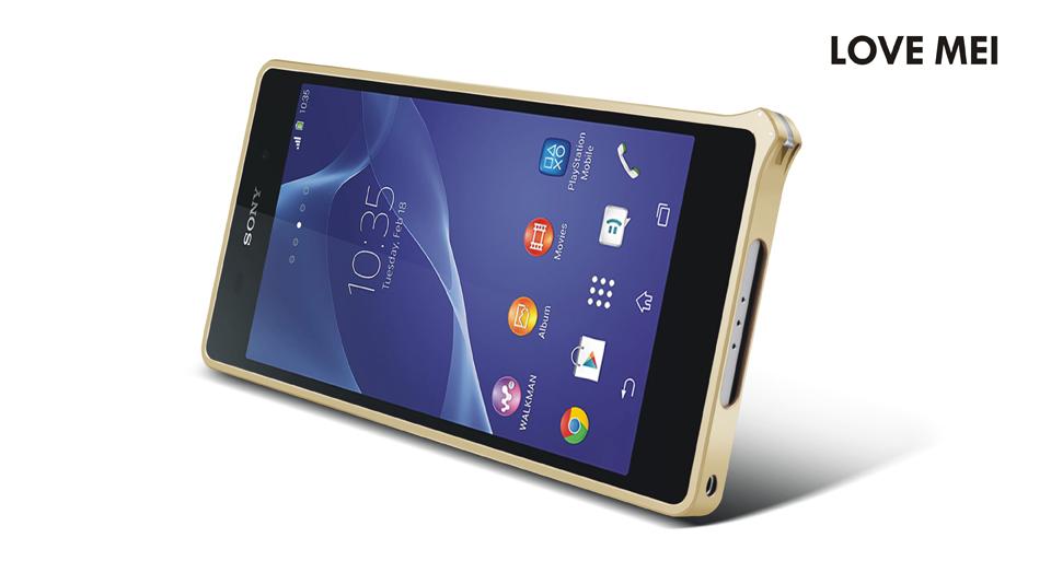 ☆索尼Xperia Z2 手機邊框 LOVE MEI 金屬免螺絲海馬扣邊框 Sony Z2 保護殼