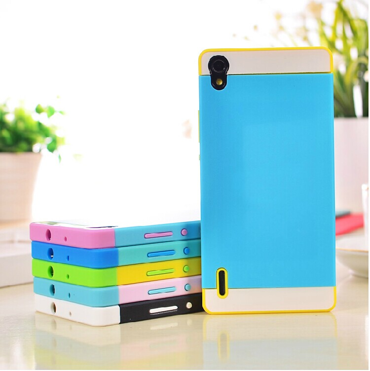 ☆華為Ascend P7 保護套 NX CASE諾訊拼色三合一手機殼 P7 時尚雙色組合式保護殼