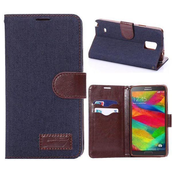 三星Galaxy Note 4 保護套 牛仔布紋支架插卡皮套 Samsung N9100 側翻手機保護殼【預購】
