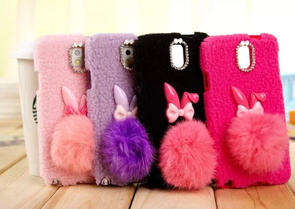 ☆三星Note 3手機殼 可愛毛球兔子手機套 Samsung N9000 軟膠手機保護套